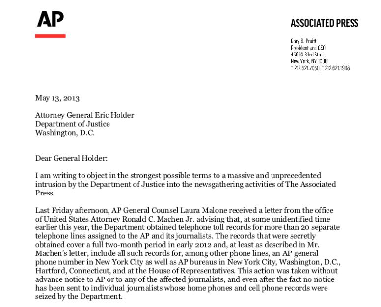 AP letter to Holder